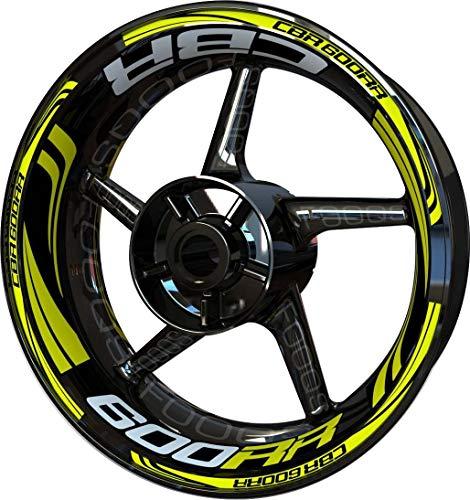 Motocicleta Moto Llanta Inner Rim Tape Decal Pegatinas F2 para Honda CBR 600 RR CBR600RR 600RR (Limón/Plata)