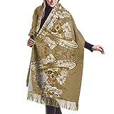 Irener Bufanda de mantón, Vintage Noble Elegant Green Flowers Winter Women Cashmere Shawl Wraps Scarf