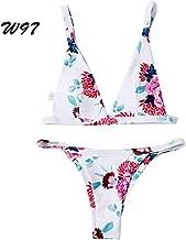 DLTEREN Women Sexy Push Up Flower Printing Swimwear Female Bikini Padded Bathing Suit Floral Print Bottom Triangle Swimsuit