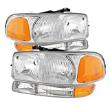 GMC Sierra/Yukon (Dont fit Denali and C3 Model) Headlights & Amber Bumper Lights Chrome Housing With Clear...