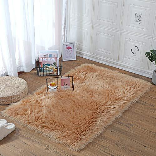 KAIHONG Faux lamsvel schapenvacht tapijt, modern woonkamertapijt pluizig lang haar bont look gezellig schapenvell bedmatje sofa mat