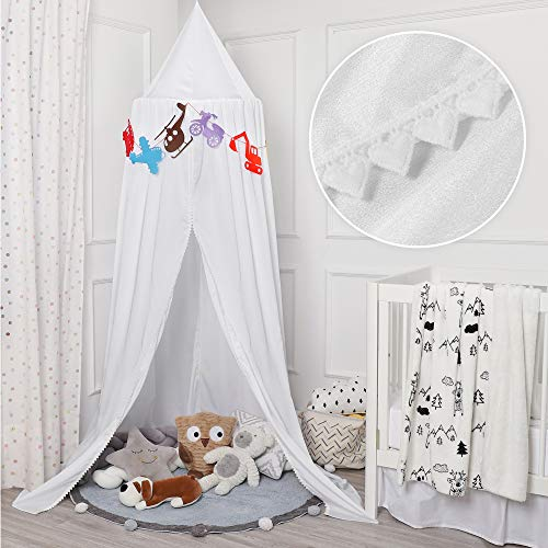 TILLYOU Baby Bed Canopy with Frills Silky Soft Microfiber Canopy for Crib and Toddler Bed Hanging Game Tent for Kids Mosquito Net Nursery Play Room Decor White