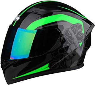 バイク ヘルメット フルフェイスヘルメット メンズ 絵 ヘルメット レディース ダブルシールド くもり止め helmet uvカット おおきいサイズ 通気吸汗 日焼け止め オールシーズン 内装 洗濯可 おしゃれ ヘルメット ブラックグリーン/カラーシールド L 頭囲 57-60cm