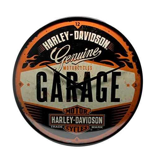 Nostalgic-Art Retro Wanduhr Harley-Davidson – Garage – Geschenk-Idee für Motorrad-Fans, Große Küchenuhr, Vintage-Design zur Dekoration, Ø 31 cm