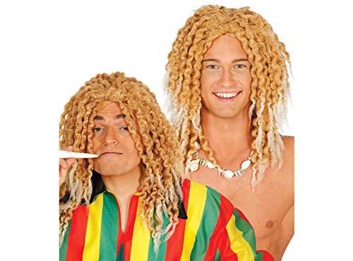 Guirca Blonde Rasta Hippie Perücke für Herren Karneval Motto Party Zubehör Jamaika Reggae Zöpfe