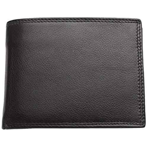 Leder Klappbörse mit Geheimfach - Schwarz - mit RFID-Schutz Wiener Schachtel 12 cm x 9 cm Geldbeutel quer