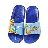 DengDeng Sandalias para niñas y niños, lindas sandalias para el hogar, zapatillas de verano de dibujos animados, ligeras, playa, ducha, piscina, color azul