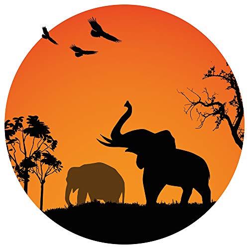 dekodino® Wandtattoo Afrika Elefanten am Sonnenuntergang Wandsticker Deko