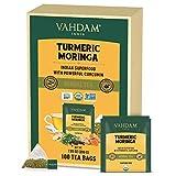 VAHDAM, ORGANIC Turmeric + Moringa SUPERFOOD Herbal Tea (100 Tea Bags) | USDA Certified India's Ancient Wellness Blend of Turmeric & Garden Fresh Spices | Herbal Detox Tea Bags For Immune Support