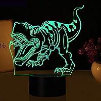 HOHHJFGG 恐竜3DLEDライトナイトライトノベルイリュージョンナイトライトLED7色変更USB子供用スリープライトバースデーパーティーギフト