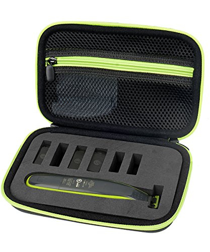Price comparison product image WGear Organizer and Carrying Case for Philips Norelco OneBlade hydbrid Electric Trimmer Shaver,  FFP,  QP2520 / 90,  Mesh Pocket,  Sturdy Foam Inlay for Better organizing,  Black with Green Zipper