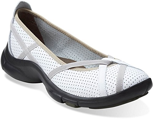 Clarks Women's P-Berry Loafer Flat, White Leather, 80 M US
