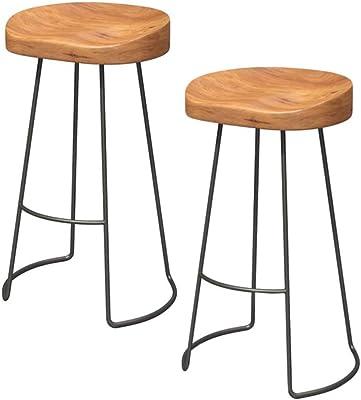 Astonishing Amazon Com Festnight Vintage Gavin Bar Stools Solid Mango Caraccident5 Cool Chair Designs And Ideas Caraccident5Info