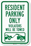 'Resident Parking Only, Violators Towed' Sign By SmartSign | 12' x 18' 3M High Intensity Grade Reflective Aluminum