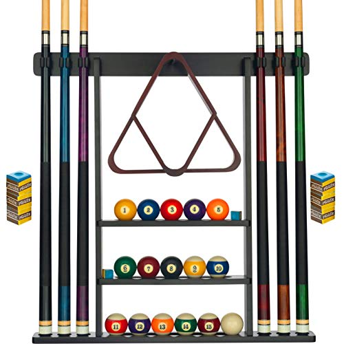 Pool Cue Rack - Pool Stick Holder Wall Mount With 16 Ball Holders & 6 Pack Of Chalk - Rubber Circle Pads & Large Clips Prevent Damage - Compact Billiard Table Accessories For Man Cave (Black)