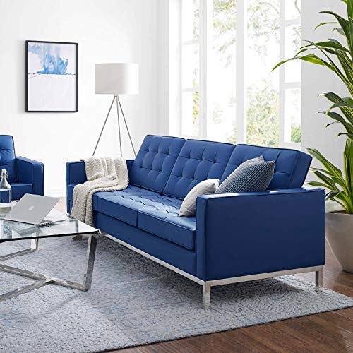 Modway Loft Tufted Button Faux Leather Upholstered Sofa in Silver Navy
