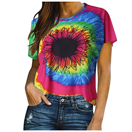 Why Choose FINME Tie-dye Shirt Womens Gradient Color Short Sleeve T-Shirt Casual Loose Sunflower Pri...
