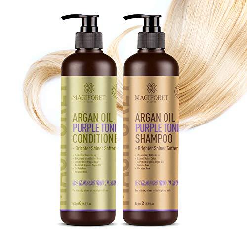 Duo Shampoing et Après-Shampoing, MagiForet Huile d'Argan pourpre 2 * 500ml avec Essence de Soie, Protection UV, sans parabène sans Sulfate pour Cheveux blond gris argent mèches