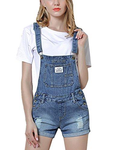 Beautisun Löcher Kurzes Latzhose Damen Jeans-Latzhose im Used-Look Hotpans mit Träger Overalls Jeans Shorts Sommer Shorts Frauen Playsuit XS-3XL