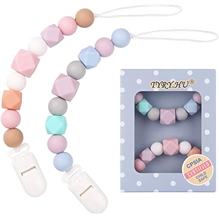 taxiner 2 Pack Baby Pacifier Clip Soother Chains Silicone Teething Beads Teether Holder