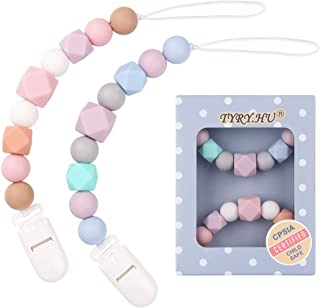 TYRY.HU Pacifier Clip Soother Chains for Baby Girls, BPA Free Soft Silicone Teething Relief Beads Teether Binky Holder Set(2 Pack)