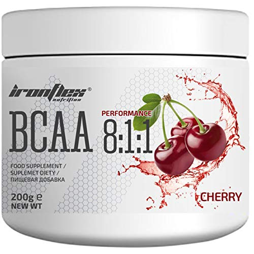 IronFlex BCAA 8:1:1-1 Pack - Branched Chain Amino Acids in Powder - Muscle Regeneration - Anticatabolic (Cherry, 200g)