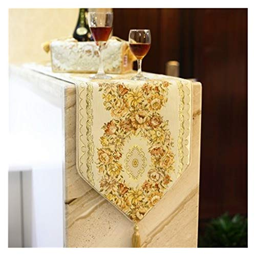 GLADMIN Table Runner Luxurious Silk Embroidery Cloth Runner Dining Room Table Flag (Color : 3, Size : Ellipse 30x45cm 2pcs)