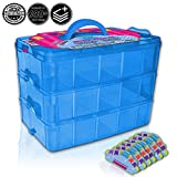 Holds 600 - Tiny Box Shopkins Storage Case Organizer Container - Stackable Collectors Carrying Tote - Compatible W/Mini Colleggtibles Tsum Tsum LoL Hot Wheels (Blue)