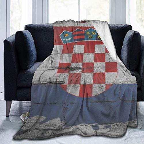Manta Polar con Flecos | Bandera de croaciaAdecuada para Todas Las Estaciones (200 x 150 cm)