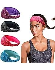 Linlook Sporthoofdband voor dames, voor yoga, sportief, hardlopen, workout, fitness, oefeningen, tennis, gym, fietsen, wandelen, volleybal, dansen, reizen, elastische antislip lichte haarband