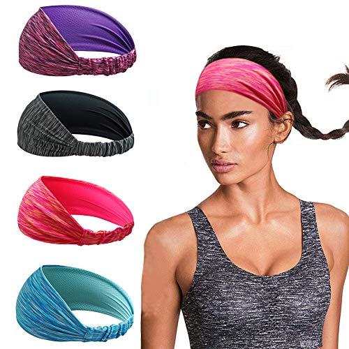 Linlook Damen Sport Stirnband für Yoga Sportlich Laufen Workout Fitness Übung Tennis Gym Fahrrad Wandern Volleyball - Elastische rutschfeste Leichte Haarband