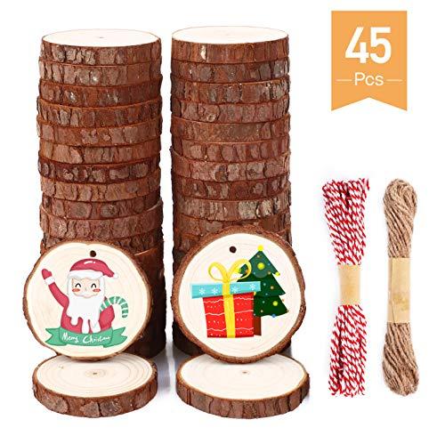 SOLEDI Holzscheiben 45 Stücke 6-7 cm mit Loch und glatter Oberfläche Holzkreise enthalten Kraftpapierbox, Juteschnurschnur, Baumwollschnur und Organza-Geschenkbeutel