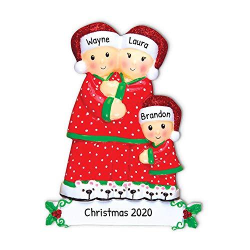 Pijama personalizado con diseño de familia de 3 árboles de Navidad 2020 – madre padre niño abrazo gorro de Papá Noel lunares PJs acogedor día festivo Foster appreciado...