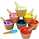 Cuenco de Plástico para Helado, 7 Piezas Cuenco de Helado Colorido, Cuencos de Helado Encantadores para Niños , Reutilizable, con Cuchara, para Regalos para Niños, Fruta, Fiesta Infantil (Plástico)