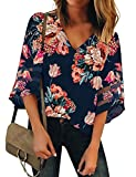 LookbookStore Women's V Neck Floral Print Mesh Panel Blouse 3/4 Bell Sleeve Loose Summer Top Shirt Navy Blue Size XX-Large