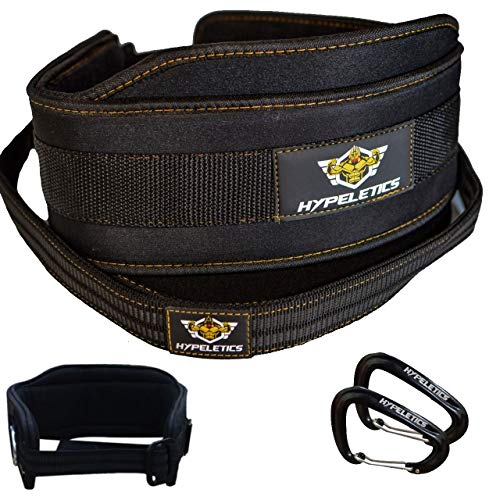 HYPELETICS Weighted Dip Belt - 40 inch Strap Built for Heavy Weights Replaces Chain - Padded Neoprene for Weighted Pull ups & Squat Belt Workout - Weight Lifting Dip Belts with Chain (Small)