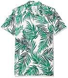 Amazon Brand - 28 Palms Men's Standard-Fit Performance Cotton Tropical Print Pique Golf Polo Shirt, Green/White Palm Leaves, X-Large