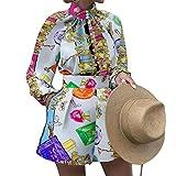 Conjunto De 2 Piezas De Verano para Mujer,Blusa Corta Botones Impresos Y Pantalones Cortos Cintura Alta Conjunto Deportivo Casual Vacaciones Conjunto Elegante,Multicolor,S