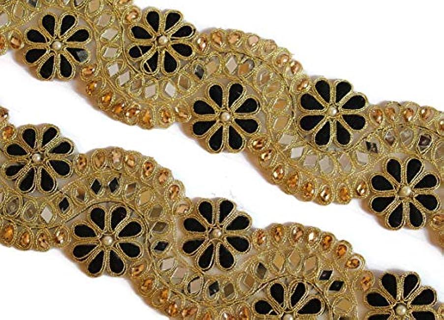 09 yards of Indian black kundan border mirror trim by iDukaancrafts