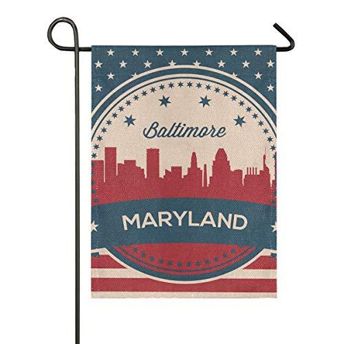 Bandera Americana Maryland State Baltimore Vintage Símbolo Jardín de poliéster de Doble Cara Patio de la Bandera Al Aire Libre Interior 28x40 Pulgadas Banner