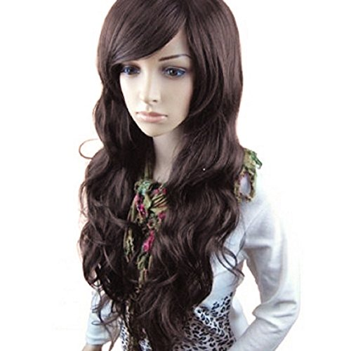 MelodySusie Dark Brown Long Curly Wavy Wig for Women, 34 Inches Synthetic Hair Replacement Wigs...