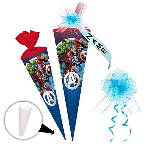 alles-meine.de GmbH Schultüte -  The Avengers - Assenble Avenger  - 85 cm - eckig - incl. individueller Schleife - mit Namen - Tüllabschluß - Zuckertüte - mit / ohne Kunststoff..