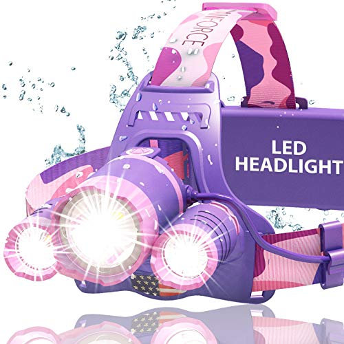DanForce Headlamp, Ultra Bright Rechargeable LED Headlamp,CREE 1080 Lumens,Zoomable Head Lamp Flashlight. Headlight USB Rechargeable, IPX45 HeadLamps for Camping, Outdoors,Red Light Include (Pink)