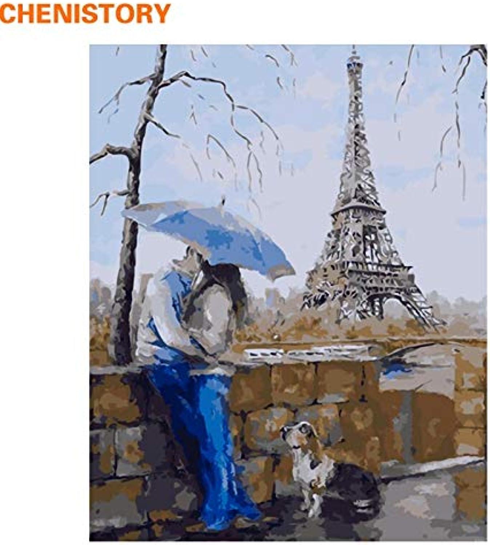 100% autentico KYKDY Amante romántico DIY DIY DIY Pintura Por Números Arte de la parojo Paisaje moderno La Torre Eiffel Pintura al óleo sobre lienzo Decoración para el hogar con, 40 CM x 50 CM enmarcado  contador genuino