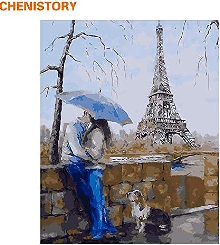 tiempo libre KYKDY KYKDY KYKDY Amante romántico DIY Pintura Por Números Arte de la parojo Paisaje moderno La Torre Eiffel Pintura al óleo sobre lienzo Decoración para el hogar con, 40 CM x 50 CM enmarcado  ventas en línea de venta