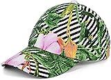 styleBREAKER Damen 6-Panel Cap mit tropischem Streifen Palmen und Blumen Print, Baseball Cap, Basecap, verstellbar 04023066, Farbe:Mehrfarbig