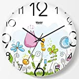 NSYNSY Reloj de Pared Creativo Redondo, Cubierta de Vidrio Curvo, diseño sin Montura de Moda, Reloj Colgante sin tictac, Reloj de Cuarzo, h 9 Pulgadas (22,5 cm)