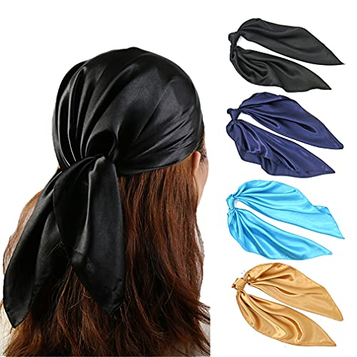23.6 Inches Silk Head Scarf for Women Small Satin Hair Bandana Solid Color Bandanas Square Scarves Gold Navy Black Blue (F4)