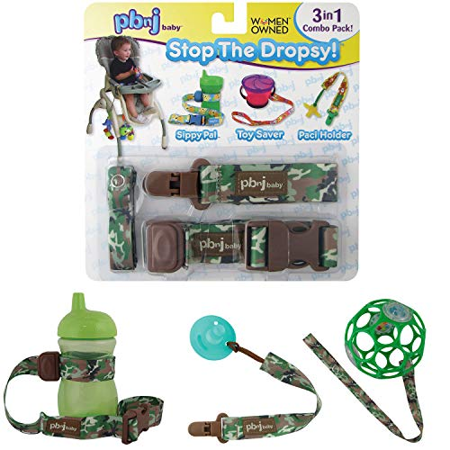 Stop The Dropsy 3-in-1 Pack for Sippy Cup, Pacifier, Toys (Green Camo)