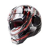 ZYTGTB Casco de Motocicleta Vintage Retro Cruiser Cafe Racer Moto Casco Motocross Moto Casco Integral,Naranja Brillante Negro,XL